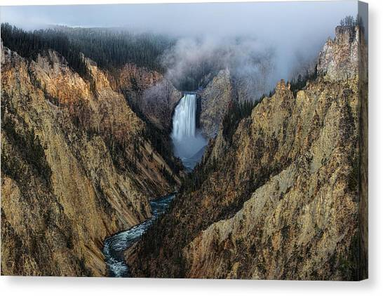 Lower Yellowstone Falls Sunrise Canvas Print