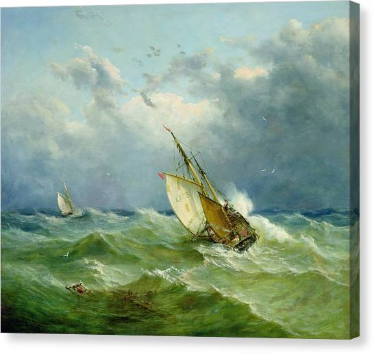 John Boats Canvas Print - Lowestoft Trawler In Rough Weather by John Moore
