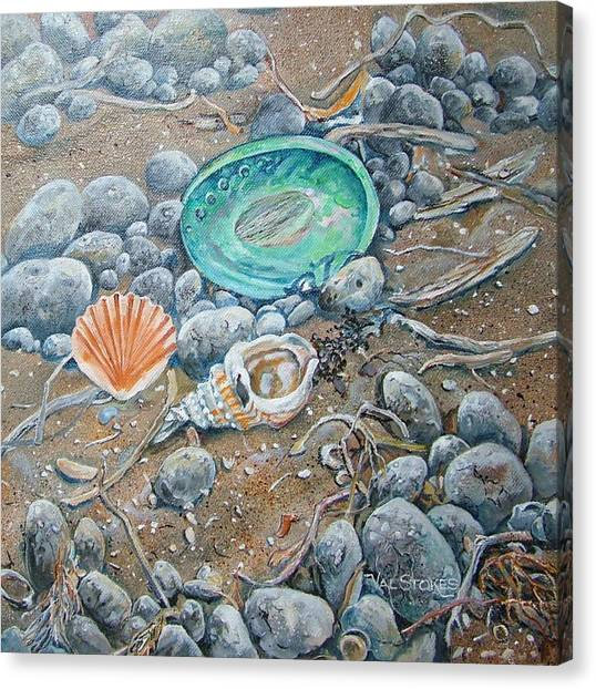 Lowtide Treasures Canvas Print by Val Stokes