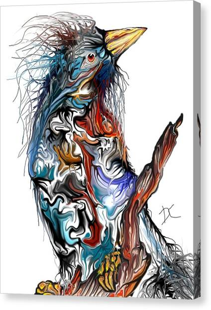 Canvas Print featuring the digital art Lsd Bird by Darren Cannell