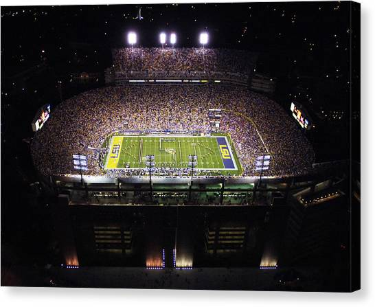 Sec Canvas Print - Lsu Aerial View Of Tiger Stadium by Louisiana State University