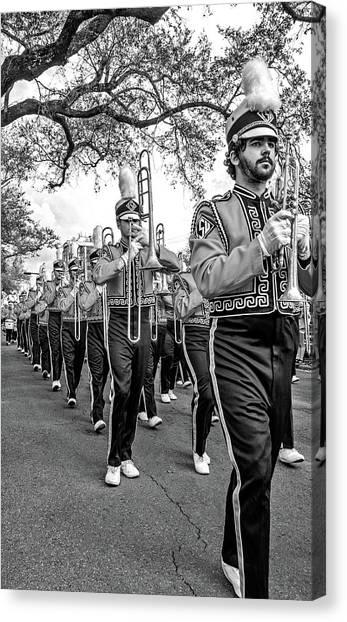 Louisiana State University Lsu Canvas Print - Lsu Tigers Band 7 Bw by Steve Harrington