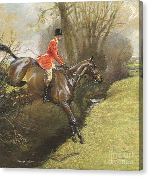 Ditch Canvas Print - Lt Col Ted Lyon Jumping A Hedge by Cecil Charles Windsor Aldin