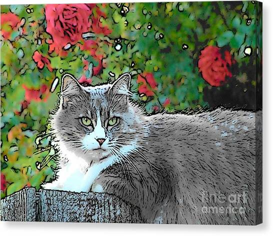 Lu With Roses Canvas Print