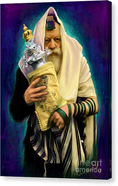 Torah Canvas Print - Lubavitcher Rebbe With Torah by Sam Shacked