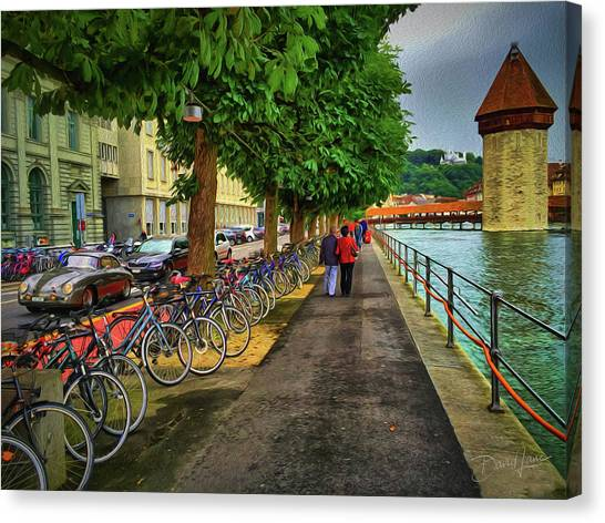 Canvas Print featuring the photograph Lucerne Strolling by David A Lane