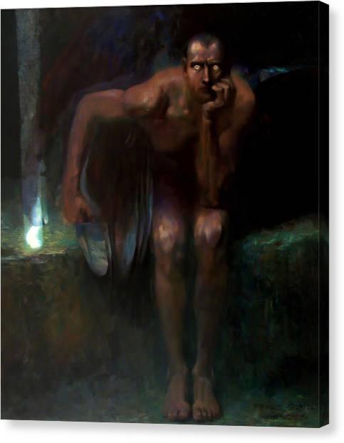 Satan Canvas Print - Lucifer by Franz von Stuck