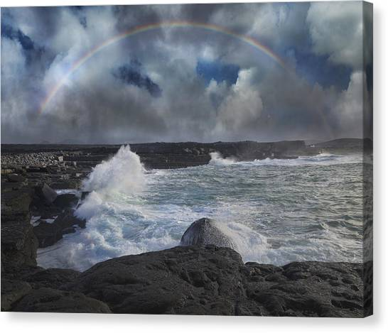 Tumbling Canvas Print - Luck Of The Irish Inis Mor by Betsy Knapp