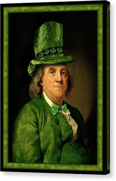 Ben Franklin Canvas Print - Lucky Ben Franklin In Green by Gravityx9  Designs