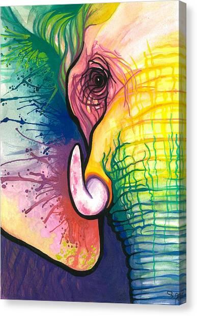 Elephants Canvas Print - Lucky Elephant Spirit by Sarah Jane