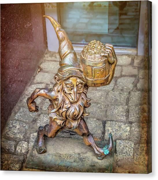Crock Canvas Print - Lucky Leprechaun Dwarf In Wroclaw Poland by Carol Japp