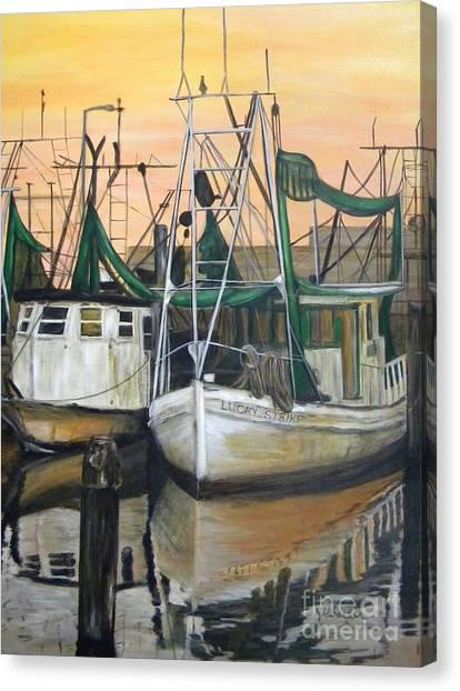 Shrimp Boats Canvas Print - Lucky Strike by JoAnn Wheeler