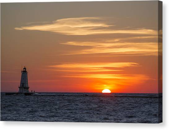 Marquette University Canvas Print - Ludington North Breakwater Light At Sunset by Adam Romanowicz