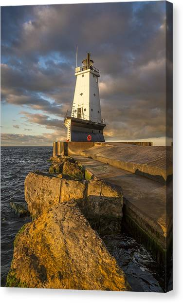 Marquette University Canvas Print - Ludington North Breakwater Lighthouse At Sunrise by Adam Romanowicz