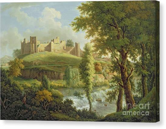Castle Canvas Print - Ludlow Castle With Dinham Weir by Samuel Scott