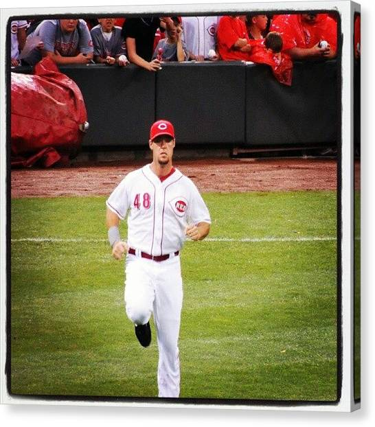 Baseball Teams Canvas Print - Ludwick With Some High Knees by Reds Pics