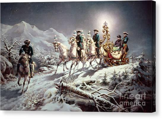 Shooting Stars Canvas Print - Ludwig II Of Bavaria Sleighing At Night From Neuschwanstein To Linderhof by Karl Gottlieb Wenig