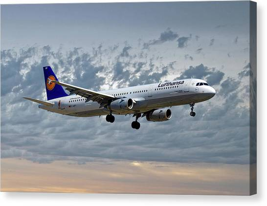 Jets Canvas Print - Lufthansa Airbus A321-131 by Smart Aviation