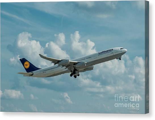 Star Alliance Canvas Print - Lufthansa Airlines A Departure Airbus 340-300 D-aigo Airport Art by Reid Callaway