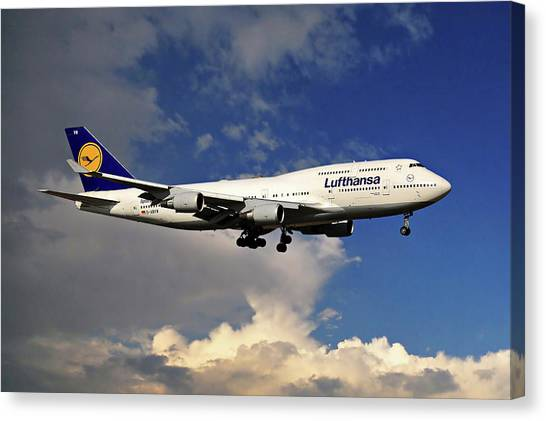 Denver Canvas Print - Lufthansa Boeing 747-430 by Smart Aviation