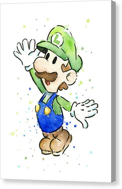 Super Mario Canvas Print - Luigi Watercolor by Olga Shvartsur