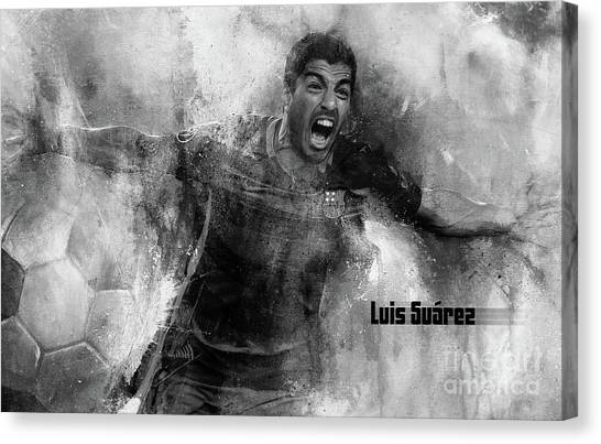 Fc Barcelona Canvas Print - Luis Suarez 1 by Gull G