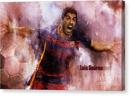 Fc Barcelona Canvas Print - Luis Suarez by Gull G