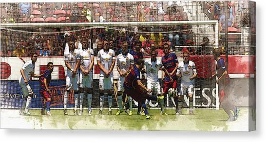 Zlatan Ibrahimovic Canvas Print - Luis Suarez Hits The Post by Don Kuing