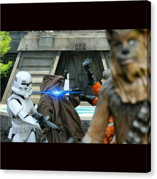 Stormtrooper Canvas Print - Luke And Chewbacca Bust Out Of The by Russell Hurst