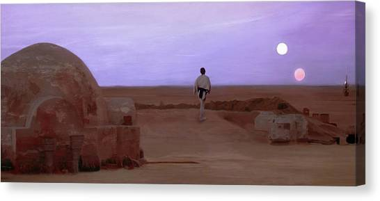 Jedi Canvas Print - Luke Skywalker Tatooine Sunset by Mitch Boyce