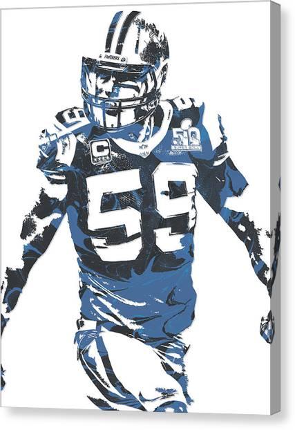 Carolina Panthers Canvas Print - Luke Kuechly Carolina Panthers Pixel Art 5 by Joe Hamilton