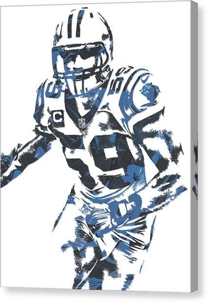 Carolina Panthers Canvas Print - Luke Kuechly Carolina Panthers Pixel Art 6 by Joe Hamilton