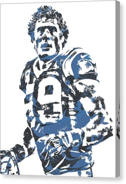 Carolina Panthers Canvas Print - Luke Kuechly Carolina Panthers Pixel Art 7 by Joe Hamilton