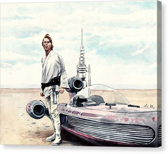 Leia Organa Canvas Print - Luke Skywalker On Tatooine Star Wars A New Hope by Laura Row