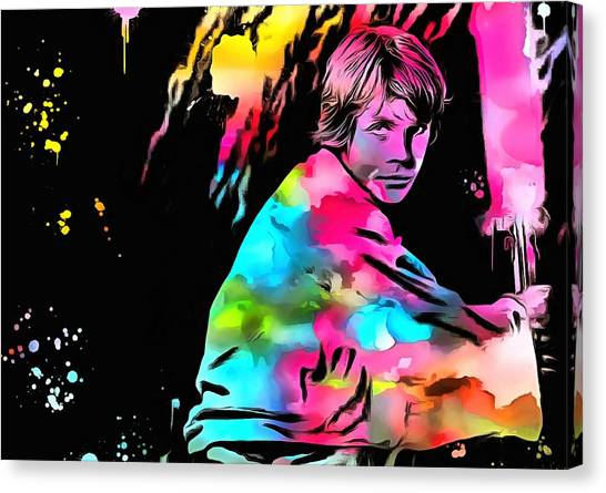 Obi-wan Kenobi Canvas Print - Luke Skywalker Paint Splatter by Dan Sproul