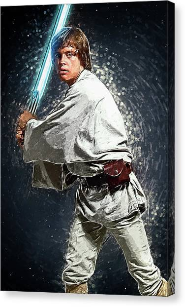 Obi-wan Kenobi Canvas Print - Luke Skywalker by Taylan Apukovska
