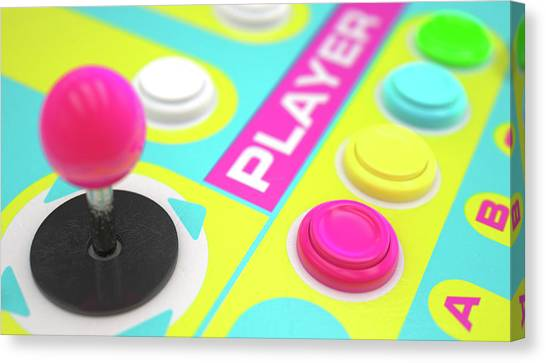 Arcade Games Canvas Print - Luminous Arcade Control Panel  by Allan Swart