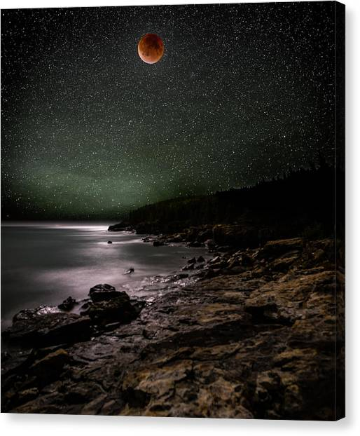 Lunar Eclipse Over Great Head Canvas Print