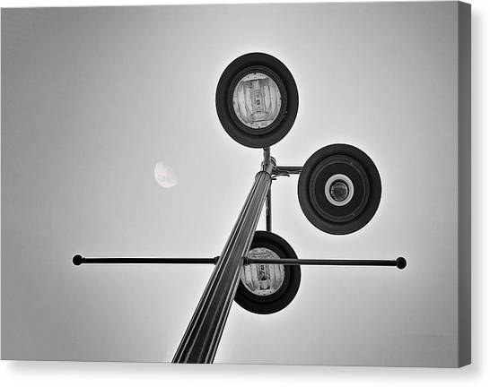 Street Lamp Canvas Print - Lunar Lamp In Black And White by Tom Mc Nemar