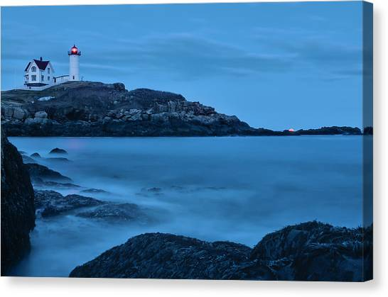 Lunar Perigee Moonrise And Nubble Lighthouse, Cape Neddick, York Canvas Print