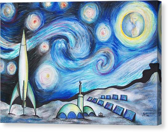 Lunar Starry Night Canvas Print by Jerry Mac
