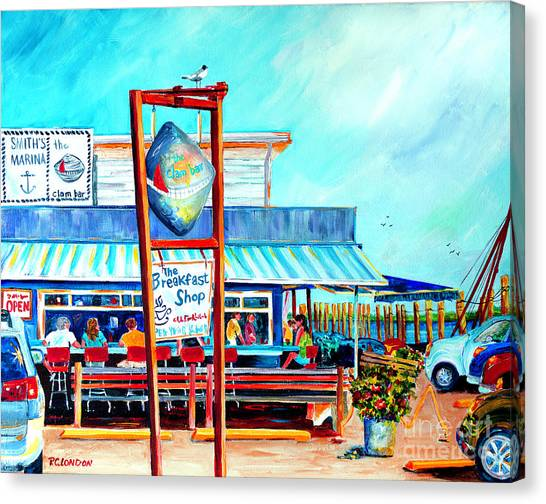 Clams Canvas Print - Lunch At The Clam Bar by Phyllis London