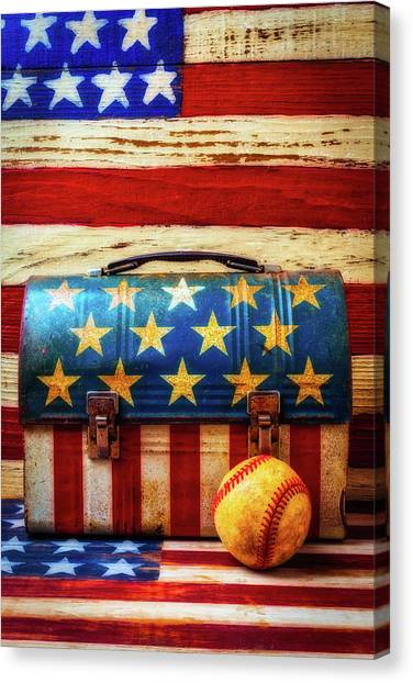 Gay Flag Canvas Print - Lunch Pail And Baseball by Garry Gay