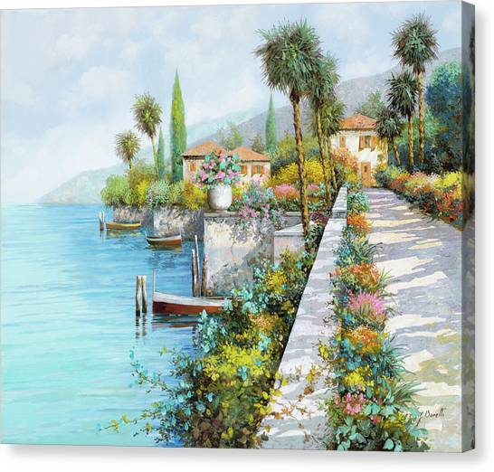 Dock Canvas Print - Lungolago by Guido Borelli