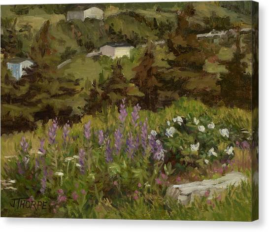 Lupine And Wild Roses Canvas Print