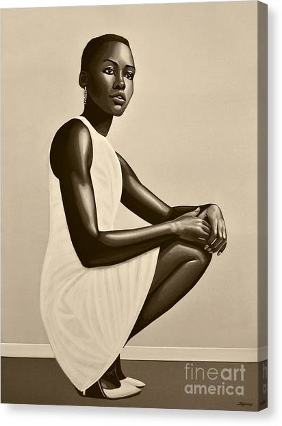 Kenyan Canvas Print - Lupita Nyong'o by Paul Meijering