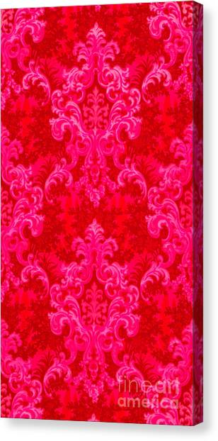 Luscious Neo Baroque Hot Pink Bubblegum Damask Canvas Print