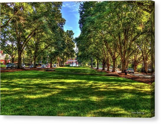 University Of South Carolina Canvas Print - Lush Shadows Furman University Main Campus Art by Reid Callaway