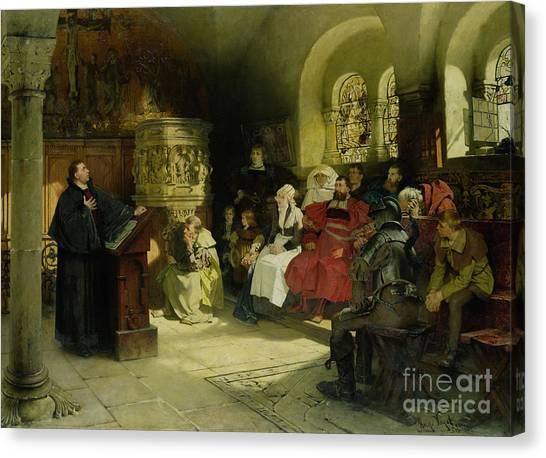 Priests Canvas Print - Luther Preaches Using His Bible Translation While Imprisoned At Wartburg by Hugo Vogel