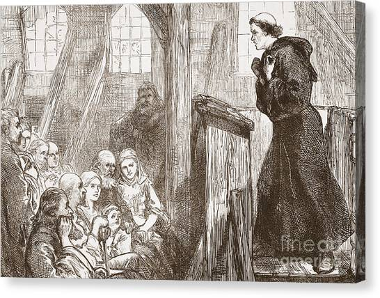 Priests Canvas Print - Luther Preaching In The Old Wooden Church At Wittemberg by English School